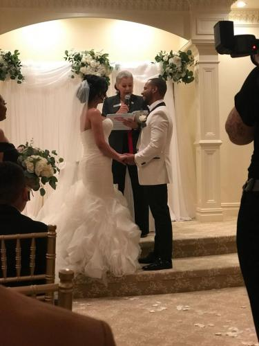 Enid Medina officiating a wedding ceremony in New Jersey